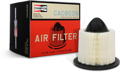 A Champion air filter displayed next to the product's box